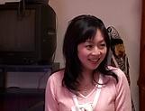 Horny Okazaki Hanae slides her fingers down picture 15