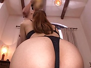 Stunning MILF in sexy lingerie gives a hot blowjob