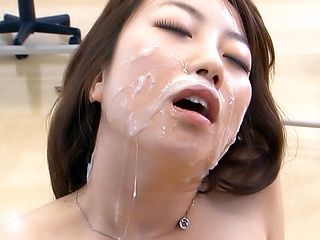 Japanese teacher, Chika Sena gets milf pussy banged in group