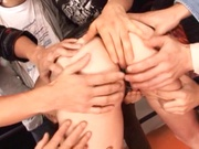 Awesome milf Maki Mizusawa fucked by a group of crazy dudes