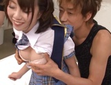 Gangbang porn scenes with cock sucking teen Chika Sena picture 12