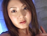 Steamy Japanese hottie Hikari Sawami gets teased enjoys cum in mouth picture 15