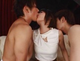 Brave Japanese chick with tiny tits Nanami Kawakami enjoys bukkake picture 4