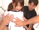 Cute Japanese AV model gives blowjobs gets multiple facial cumshots picture 5
