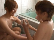 Two hot girls Yuu Namiki and Kirara Kurokawa give a handjob in a bathroom
