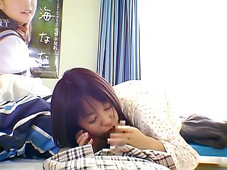 Skillful amateur teen Nana Nanaumi gives a cute treatment to cock
