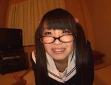 Sweet JP schoolgirl Airi Satou with glasses sucks a fat dick