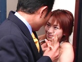 Appetizing Asian vixen Karen Ichinose sucking dick picture 1