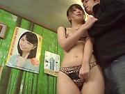 Japanese AV model in lingeire sucks cock in superb manners