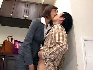 Naughty Japanese milf, Ichika Kanhata is aroused by her horny student