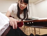 Appealing Japanese AV model seduces a cute bald guy gives a foot job picture 22