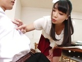 Appealing Japanese AV model seduces a cute bald guy gives a foot job picture 24