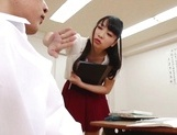 Appealing Japanese AV model seduces a cute bald guy gives a foot job