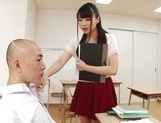 Appealing Japanese AV model seduces a cute bald guy gives a foot job picture 47
