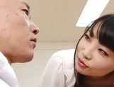 Appealing Japanese AV model seduces a cute bald guy gives a foot job picture 51