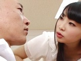 Appealing Japanese AV model seduces a cute bald guy gives a foot job picture 52