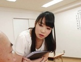 Appealing Japanese AV model seduces a cute bald guy gives a foot job picture 53