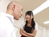 Appealing Japanese AV model seduces a cute bald guy gives a foot job picture 8
