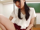 Appealing Japanese AV model seduces a cute bald guy gives a foot job picture 95