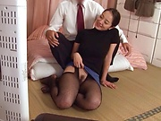 Appealing milf in sexy stocking sucking dick