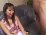 Kinky amateur chick Miho Anzai takes cock in  mouth swallows cum