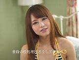 Lovely Yoshizawa Akiho masturbates and sucks dick