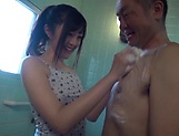 Lusty Suzuhara Emiri on her knees sucking dick