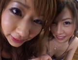 Two horny babes share a dick