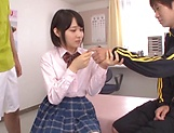 Ai Uehara seduced into having wild threesome blowjob picture 1