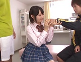 Ai Uehara seduced into having wild threesome blowjob