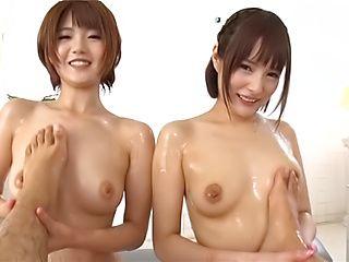 Sakaguchi Mihono and Kawamura Maya nasty threesome