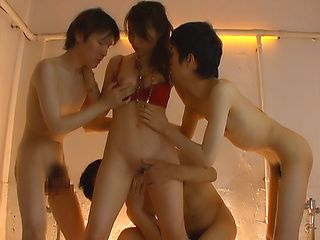 Horny babe sucks three guys in some cosplay action