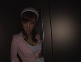 Hot elevator hostess Kaede Fuyutsuki gives head on the job picture 8