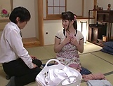 Mature Japanese AV Model enjoys sucking cock picture 5