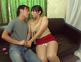 Japanese AV Model in a short skirt gives stellar blowjob picture 9