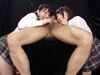 Ai Uehara and Karen Haruki get cum after giving head