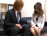 Delicious Japanese offie lady Aki Asada blows cock in a toilet on pov picture 15