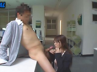 Amazing Asian babe gives horny stud good head