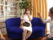 Aihara Marin crazy Japanese threesome porn show