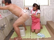 Asian housewife, Mako Konno gets tit fucked in the bath