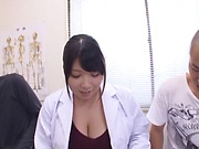 Hot milf Amayoshi Shizuku gives a kinky double blowjob.