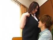 Teacher with large tits fucked by student in classtroom