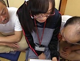 Naughty Asian babe Mako Konno is banged by older men picture 13