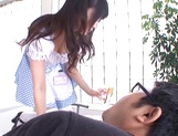 Lovely Tokyo maid Arisa Misato gives some licking services picture 12