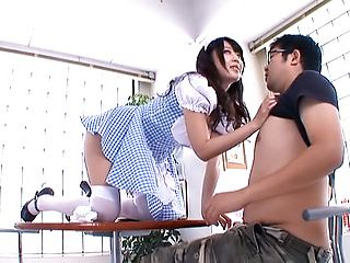 Arisa Misato hot Asian maid sucks cock in cosplay sex