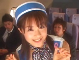Hot Japanese stewardess has a nasty threesome picture 14