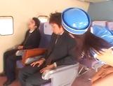 Hot Japanese stewardess has a nasty threesome