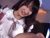 Hot teen in a costume of a maid  Arisa Misato licks cock and gets screwed picture 13