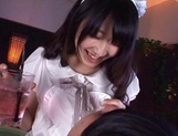 Hot teen in a costume of a maid  Arisa Misato licks cock and gets screwed picture 15