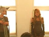 Naughty Japanese cosplay threesome on cam